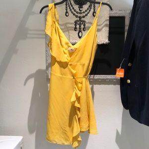 Yellow wrap tie dress